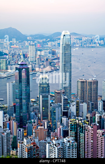 Beautiful Hong Kong Harbour from The Peak, - Stock Image