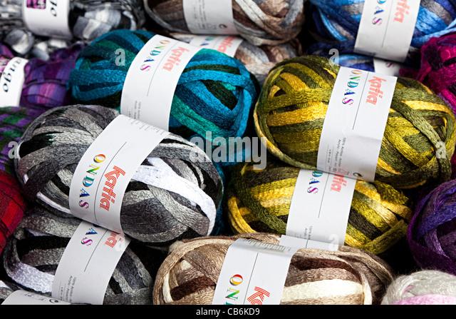 Balls of wool knitting yarns in acrylic mixes on sale - Stock Image