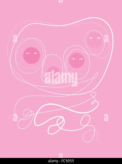 Family of four bound together with white flourishing lines on pink. - Stock Image