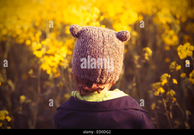Boy (2-3) against yellow field - Stock Image