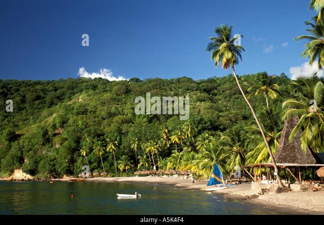 Caribbean St Lucia beach black sand beach Anse Chastanet Resort - Stock Image