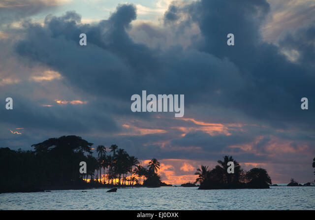 South America, Latin America, Colombia, nature, palms, beach, seashore, coast, sundown, evening, mood, palm beach, - Stock Image