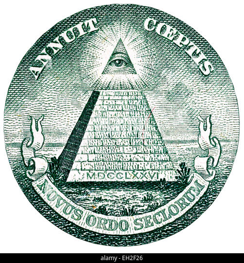 Great Seal of the United States, all-seeing Eye of Providence and unfinished pyramid from 1 dollar banknote, USA, - Stock Image