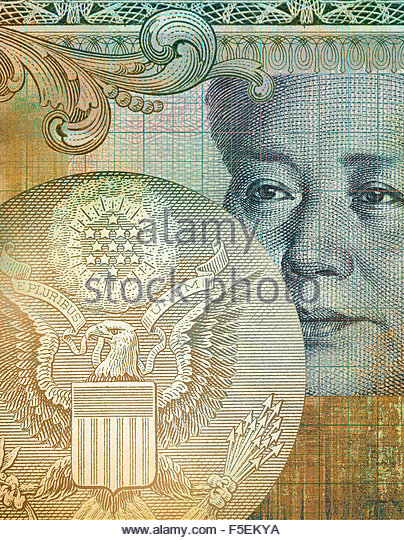 Mao Zedong and the Great Seal of the United States in collage from Chinese and US banknotes - Stock Image