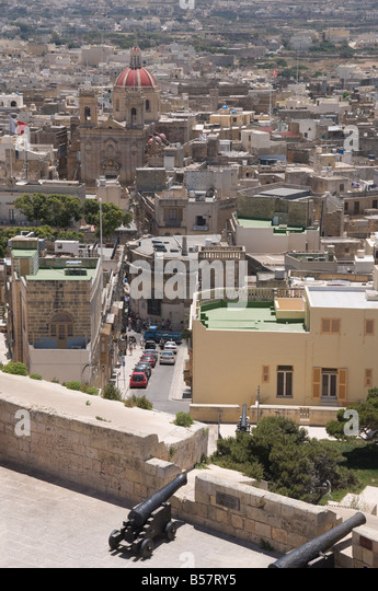 St. George's Basilica from the ramparts of the Citadel, Victoria (Rabat), Gozo, Malta, Europe - Stock Image