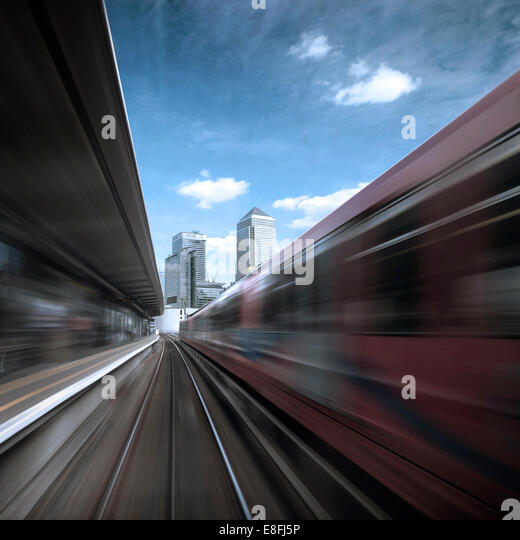 UK, England, London, Canary Wharf, View from going train - Stock Image