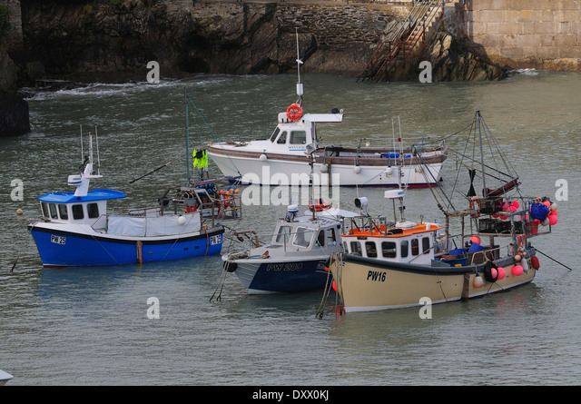 A view of Newquay harbour, Cornwall UK - Stock Image