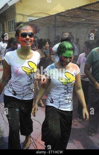 Celebrities enjoying holi festival ; India NO MR - Stock Image