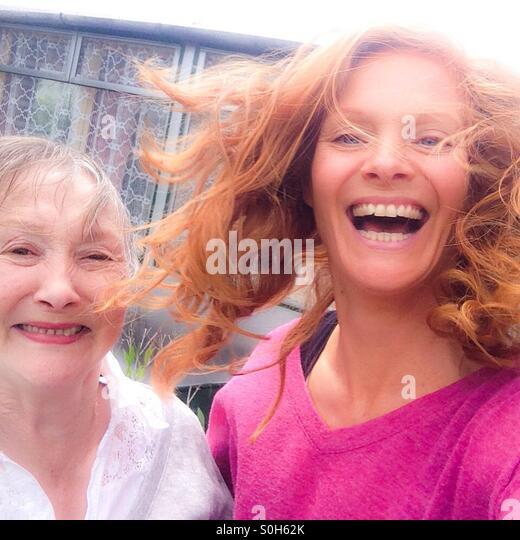 Mum and I having fun. - Stock Image