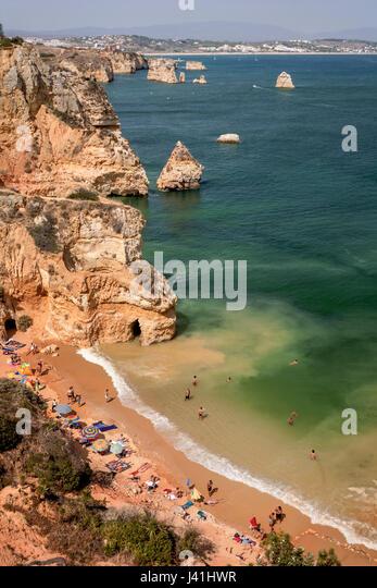 Praia da Dona Ana, Cliff, beach, Lagos, Algarve, Portugal - Stock Image