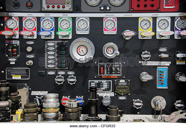 Semi Truck Control Panel : Fire truck stock photos images alamy