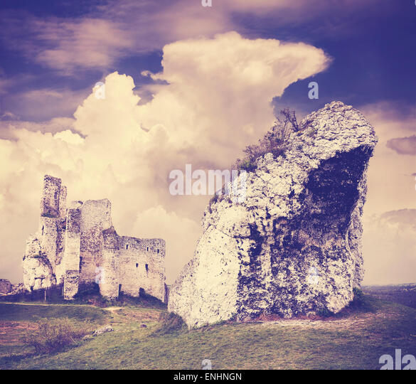 Vintage filtered incredible rock formation and ruins, Mirow in Poland. - Stock Image