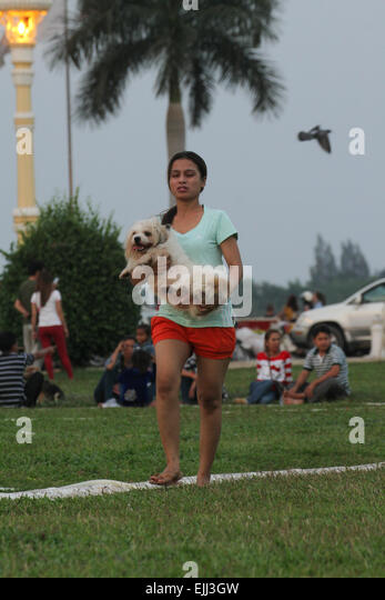 A Cambodian woma carries a dog at the Royal Palace park in Phnom Penh. Credit: David Mbiyu/ Alamy Live News - Stock Image