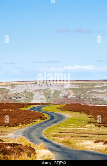 Winding road on Redmire Moor Yorkshire Dales England UK - Stock Image