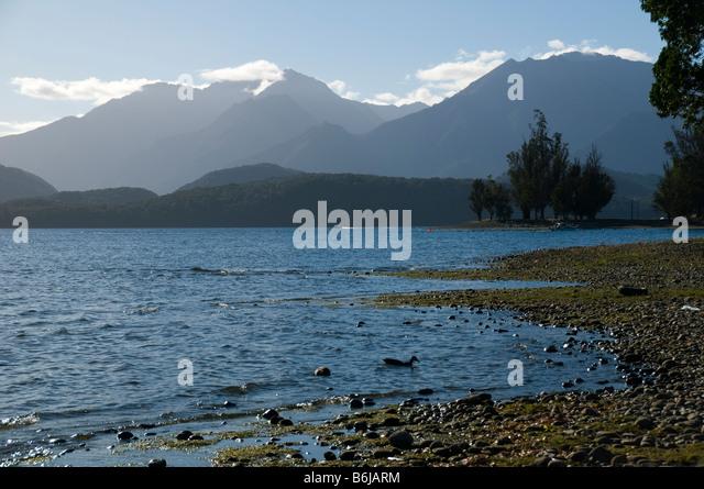 The Murchison Mountains over lake Te Anau, South Island, New Zealand - Stock Image