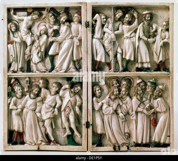 'Diptych with Gospel Subjects', end of 14th century. - Stock Image