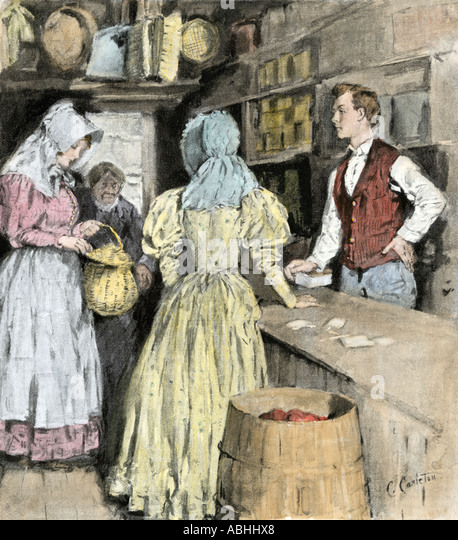 Girl bringing a basket of eggs to sell to a country store 1800s - Stock Image