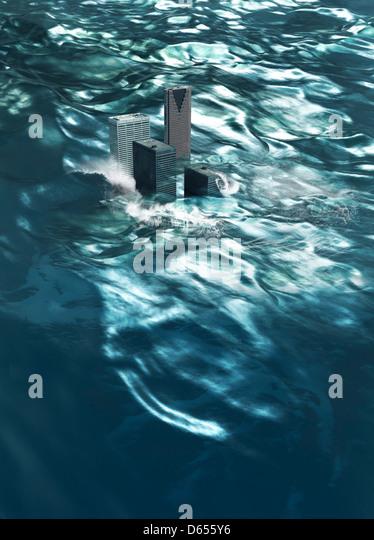 Flooding, conceptual artwork - Stock Image