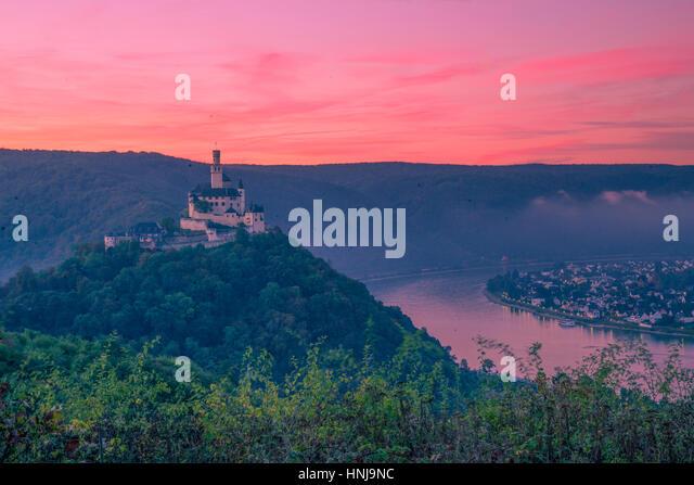 Marksburg Castleat dawn ,   Rhine River, Germany , Rhineland Region. 13th Century Castle Upper Middle Rhine Valley - Stock-Bilder