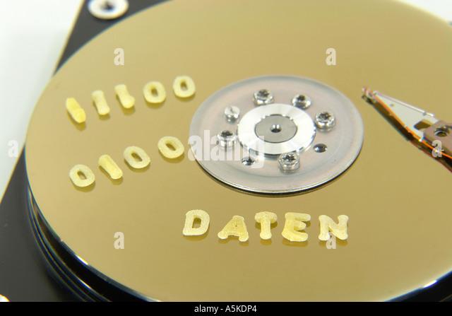 Symbolic Image data on a Harddisc (DATEN) - Stock Image