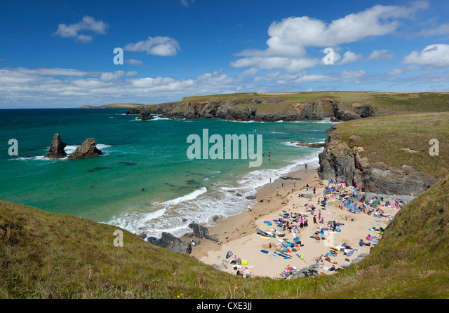 North Cornwall coast beach, Porthcothan, near Newquay, Cornwall, England - Stock Image