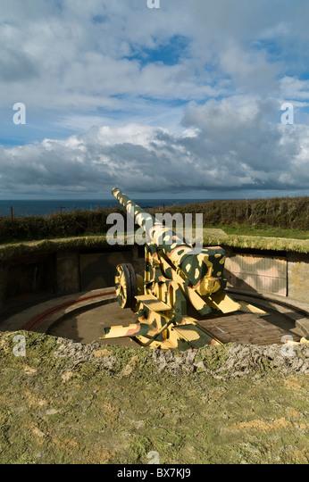 dh Pleinmont TORTEVAL GUERNSEY Second World War German naval gun emplacement Hitlers Atlantic Wall - Stock Image