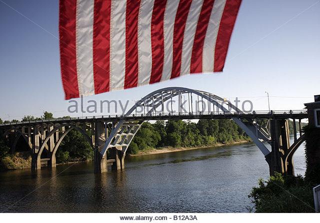 Selma Alabama Edmund Pettis Bridge Civil Rights Movement March to Selma Black History segregation flag - Stock Image