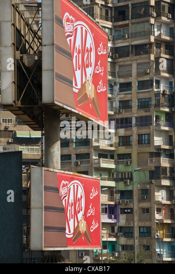 Advertising billboards Cairo Egypt - Stock Image