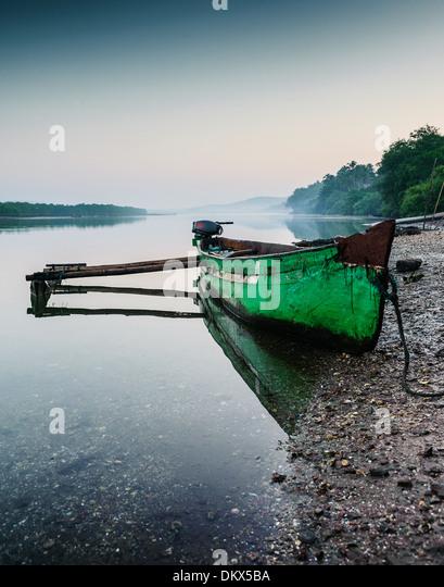 Canoe on river Goa India - Stock-Bilder