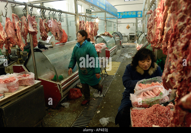 A beef and mutton market in Beijing China 18 Jan 2008 - Stock Image