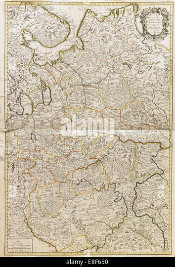 Map of Muscovy. Artist: Price, Charles (active Early 18th cen.) - Stock Image