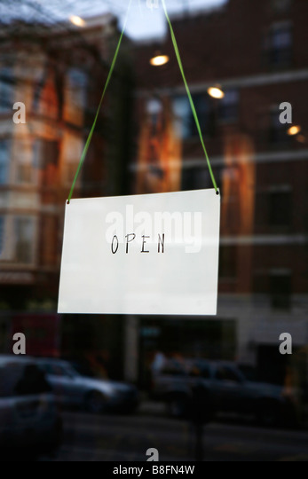 open sign on small business door - Stock Image