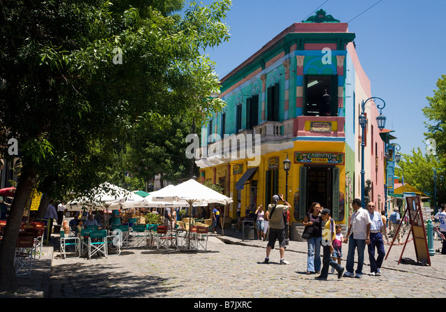 Tourists in street in La Boca Buenos Aires Argentina South America - Stock Image