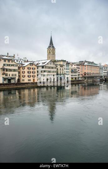 Limmat river and scenic skyline of Zurich Switzerland, Europe - Stock Image