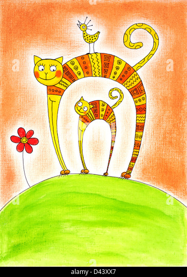 Cat and kitten, child's drawing, watercolor painting on paper - Stock Image