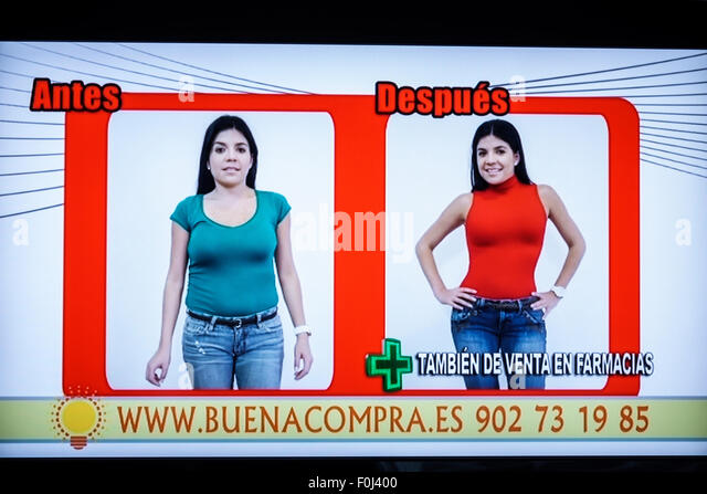 Madrid Spain Europe Spanish television TV screen commercial infomercial ad advertisement shapewear girdle shopping - Stock Image