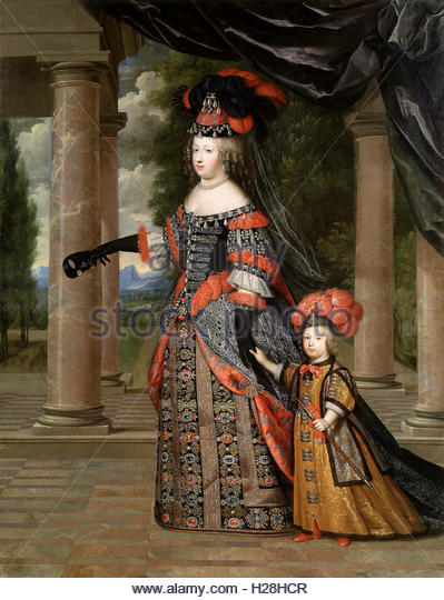 Maria Theresa of Spain, wife of Louis XIV, with their only surviving son, Louis le Grand Dauphin. - Stock Image