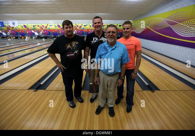 Steve Fredrickson, Nick Page, Mike Sullivan and Caleb Johnson, the Nine-pin No Tap Tournament Men's Division semi - Stock Image