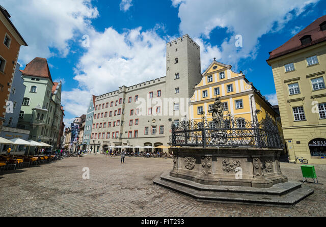 Goldenes Kreuz patricia castle on Haidplatz, Regensburg, UNESCO World Heritage Site, Bavaria, Germany, Europe - Stock Image