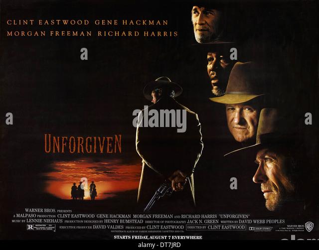 MORGAN FREEMAN GENE HACKMAN & CLINT EASTWOOD POSTER UNFORGIVEN (1992) - Stock Image