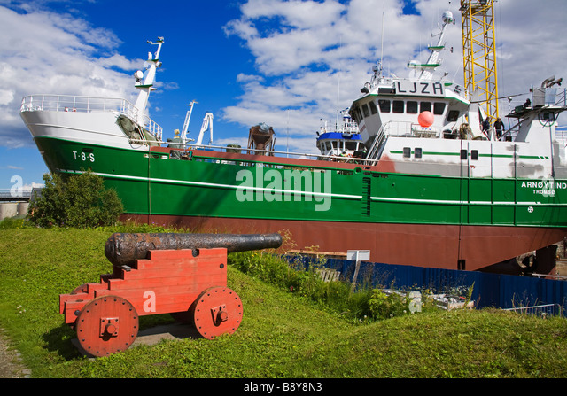 Commercial fishing boat at a dry dock, Skansen, Tromso, Toms County, Nord-Norge, Norway - Stock Image
