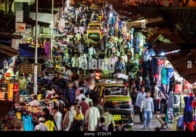 Mumbai India Indian Asian Grant Road East Bharat Nagar P Nagare Lane night nightlife shopping street market vendors - Stock Image