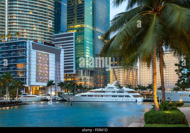 Miami Downtown, Brickell Key at Night - Stock Image