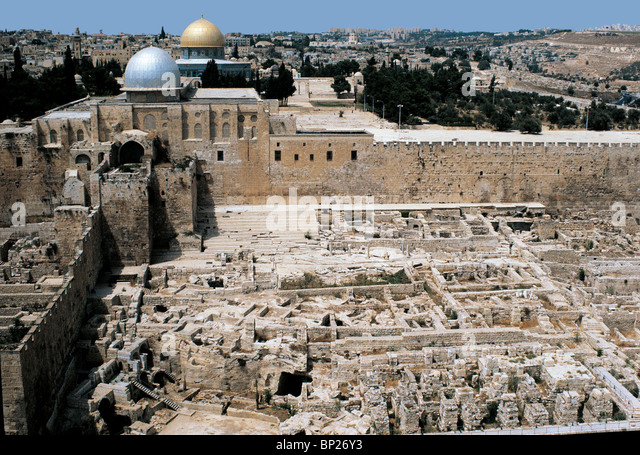 JERUSALEM, TEMPLE MOUNT, ARCHEOLOGICAL EXCAVATIONS, AERIAL VIEW - Stock Image