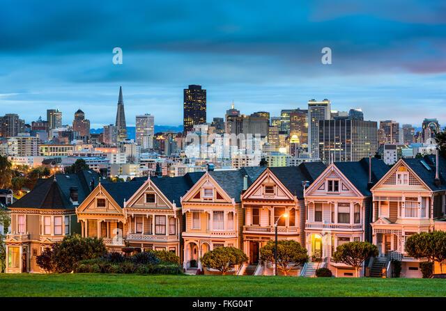 San Francisco, California cityscape at Alamo Square. - Stock Image
