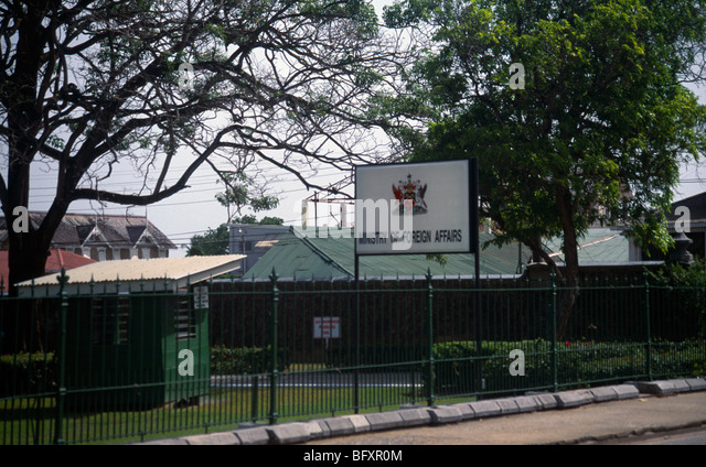 Port Of Spain Trinidad Ministry Of Foreign Affairs Sign - Stock Image