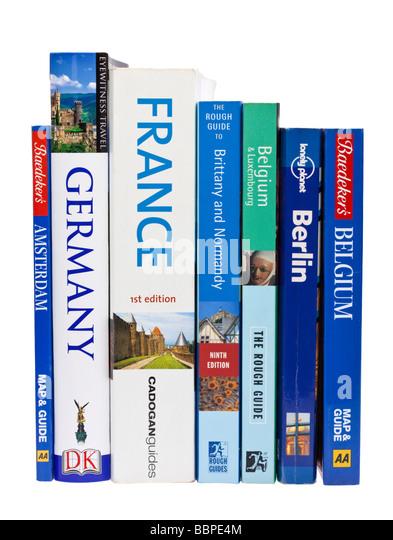 European travel guide books on white - Stock-Bilder