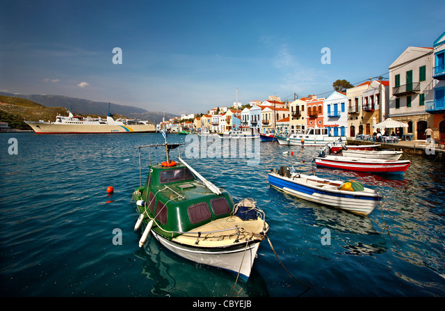 Partial view of the picturesque harbor and  village of Kastellorizo (or 'Meghisti') island, Dodecanese, - Stock-Bilder