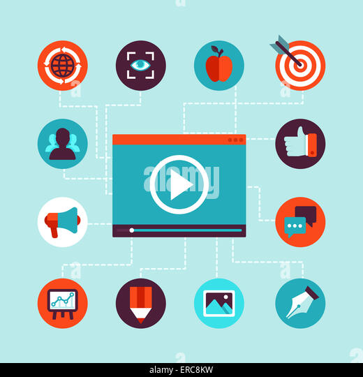 Video marketing concept in flat style - video player and advertising icons - infographics design element - Stock Image
