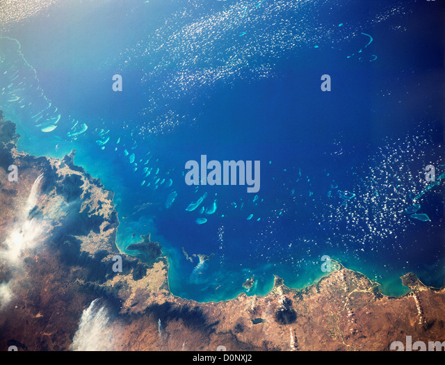 A View From Space of the Great Barrier Reef - Stock-Bilder